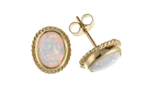 Oval Rope Edged Yellow Gold  Opal Stud Earrings